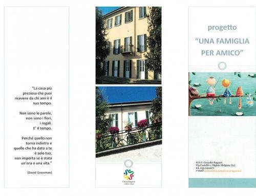 """Il Progetto """"UNA FAMIGLIA per AMICO"""" cerca VOLONTARI"""